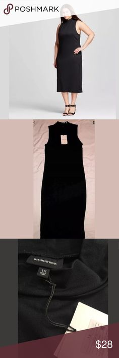 NWT Mock Neck Midi Dress by Who What Wear New With Tags Who What Wear For Target   Mock Turtleneck Midi Black Dress Size 1X Perfect for work and for a night out on the town!  Everything is shipped from a smoke and pet free home! Who What Wear Dresses Midi