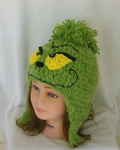 Grinch Like Crochet Ear flap Hat Kids Teens Adults by CrochetHatsForYou,