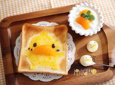 Piyo chan toast art by Meeeegu-☆ (@gomasan___7)