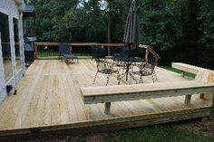 pressure-treated lumber deck with wrap-around bench