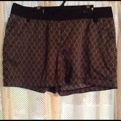 Dressy silk black shorts (Mossimo) Silk black shorts with diamond design, solid black band at waistline with belt buckles, fake back pockets in back, Brand Mossimo, size 12 Mossimo Shorts