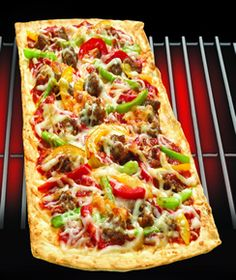 Thin Crust Sausage and Peppers Pizza using Flatout Thin Crust Flatbread Rustic White