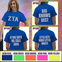 Zeta Tau Alpha Neon Big-Lil Printed Tee #Greek #Sorority #Clothing #Zeta #ZTA #ZetaTauAlpha