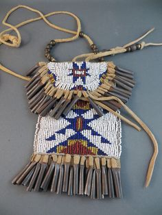 Northern Native American Strike A Lite Light Fire Starter Glass Beaded Bag Pouch