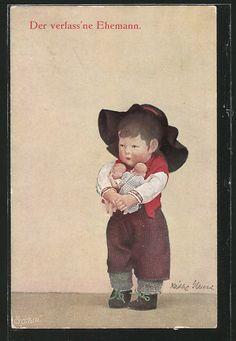 Alte Ansichtskarte: AK Der verlass'ne Ehemann, Käthe Kruse-Puppe mit Babys im Arm