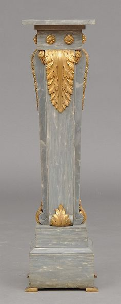 LOUIS XVI STYLE GILT-BRONZE MOUNTED GREY ST. ANNE MARBLE PED