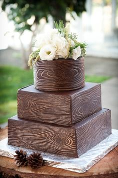 Gorgeous wood grain cake as seen on @offbeatbride by Mike's Amazing Cakes! | Wedding Invitations by CharmCat Stationery & Design