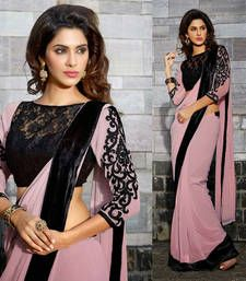Buy Pink and Black Embroidered Georgette saree with blouse georgette-saree online