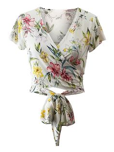 SheIn offers Surplice Front Knot Waist Top & more to fit your fashionable needs. Short Tops, White Tops, Aesthetic Clothes, Floral Tops, Fashion Dresses, Kimono Top, Cute Outfits, Crop Tops, My Style