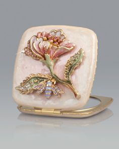 Pretty Things. Michelle Bee and Vine Compact by Jay Strongwater at Neiman Marcus.