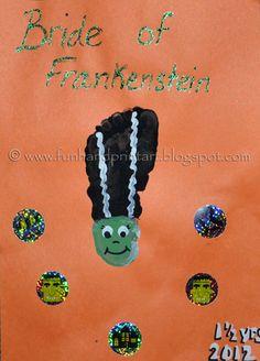 bride of frankenstein footprint art | Footprint Bride of Frankenstein Halloween Craft for Kids