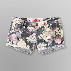 Bongo- -Junior's Distressed Denim Shorts - Floral this are the shorts that goes with the vest