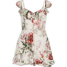 River Island Petite white floral bow back cami romper ($70) ❤ liked on Polyvore featuring jumpsuits, rompers, romper, rompers/ jumpsuits, white, women, white camisole, floral romper, tall jumpsuit and white cami