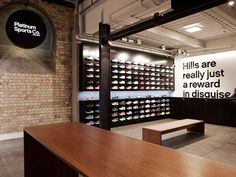 Platinum Sports shop by Switch & Frame Architecture, Auckland store design Nike Outfits, Shoe Store Design, Timber Shelves, Retail Merchandising, Retail Interior, Retail Space, Sports Shops, Retail Shop, Retail Design