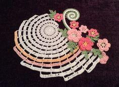 New Hand Crocheted Doily --Nautilus in Garden--