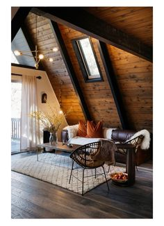 wood floors wood ceiling Scandinavian design fur leather rustic industrial home decor chandelier high vaulted ceilings wood beams cozy photography
