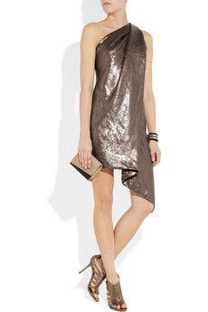 Kaufmanfranco Sequined asymmetric one-shoulder dress