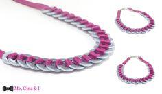Inox washer necklace with fuchsia satin ribbon.