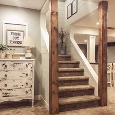 Here's a fun game.how many DIY's of ours can you find in one picture!seriously though it's pictures like this that truly make… Basement Remodel Diy, Basement Makeover, Basement Renovations, Home Remodeling, Basement Decorating, Refinished Basement Ideas, Staircase Remodel, Staircase Makeover, Basement Master Bedroom