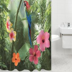 High Quality 3D Waterproof Polyester Shower Curtain Parrot Nature Pattern Bath Curtain with 12 Plastic Hooks #Affiliate