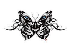 tiger and butterfly tattoo black - Google zoeken