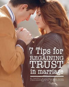 Broken trust is a common issue in marriages. If you and your spouse are committed to see your marriage through, try these 7 tips to regain trust in your marriage again. :: fulfillingyourvows.com
