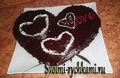 Шоколадно-банановый торт в форме сердца