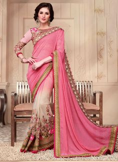 Sari indien urban fabrication Net design de travaillé de dentelle
