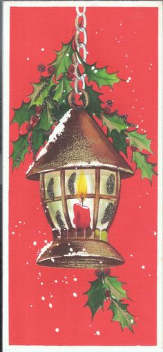 Vintage Hallmark Christmas Card - Lantern with Holly - Glitter