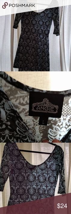 Angie, boutique brand 3/4 sleeve dress Lands right at knee, flexible fabric stretches to fit most. Size large fits 8-14, bought at Anthropologie Anthropologie Dresses