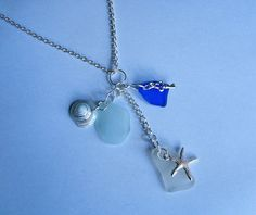 Sea glass necklace. Beach glass cluster by EgyptianInspirations, $38.99