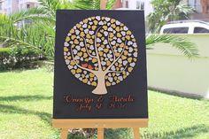 Gold & Silver 3d Wedding Guest book - Alternative wedding guest book - Custom tree hearts guest book Fast Shipping Guest Book