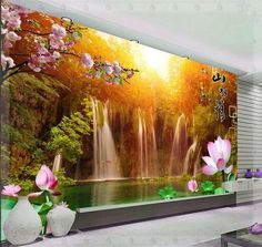 New large wallpaper Custom wallpaper Plum waterfall landscape backdrop mural wall paper papel de parede wall 3d Wallpaper Living Room, Home Wallpaper, Custom Wallpaper, Floor Design, Ceiling Design, Wall Design, Ceiling Murals, Wall Murals, Wallpaper Suppliers