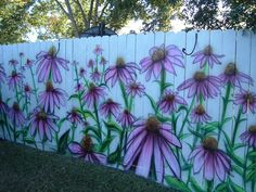 Coneflowers Airbrushed on Fence