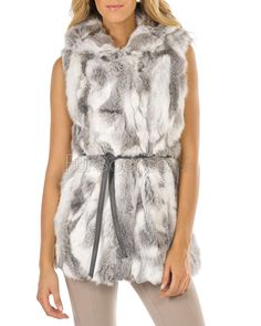 Ash Grey Hooded Rabbit Fur Vest with Tied Narrow Belt 0f298aea64fc