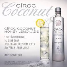 Ciroc Coconut Honey Lemonade Coconut Vodka Drinks, Ciroc Coconut, Sangria Drink, Cocktail Drinks, Cocktails, Alcohol Drink Recipes, Vodka Recipes, Liquor Drinks, Alcoholic Drinks