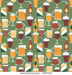 Seamless pattern with various beers 1 - stock vector