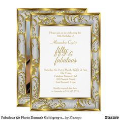 Shop Fabulous 50 Photo Damask Gold gray silver birthday Invitation created by Zizzago. 50th Birthday Invitations, Bachelorette Party Invitations, Quinceanera Invitations, Baby Shower Invitations, 50th Birthday Party For Women, Birthday Fun, Birthday Parties, Birthday Gifts, Party Stores