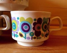 1970s Midwinter Michaelmas Tea Cup Trios by Onmykitchentable