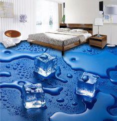 Floor Wallpaper For Living Room Custom Modern Stereoscopic Photo Mural Wall Paper PVC Bathroom Ice Cube Floor Mural Wallpaper