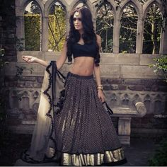 Black and white lehnga! For more details for orders and pricing contact shefu_patel@hotmail.com at Shefali Couture