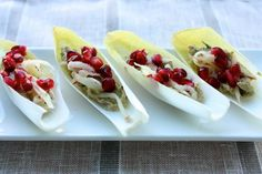 Easy Raw, Vegan Appetizer: Endive Boats with Rosemary Cashew Cheese, Shaved Apple, and Pomegranate Seeds - Choosing Raw