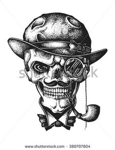Hand drawn gentleman skull wearing bowler hat with monocle and smoking pipe. Vector illustration