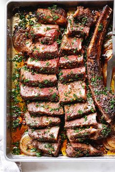 Oven Roasted Steak - #steak #recipe #eatwell101 - This melt in your mouthtomahawk rib-eye steak recipe is just what you need to celebrate the holidays this year! - #recipe by #eatwell101 Oven Roasted Steak, Roast Steak, Oven Steak, Recipe For Steak In Oven, Herb Butter For Steak, Garlic Herb Butter, Oven Recipes, Dinner Recipes, Cooking Recipes