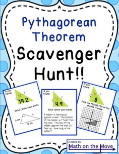 Students move around the room, solving problems using the Pythagorean Theorem.  Each answer leads them to the next problem.