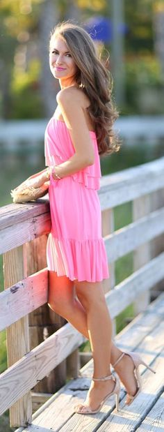 Neon Pink Ruffle Dress Styling by Southern Curls and pearls
