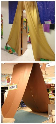 I think that both of these are so fun. You can create a huge classroom tent or try this dollar tree table cloth tent alternative to decorate your class door.