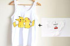 Underwear set handpainted cami set  pikachu  by Dariacreative