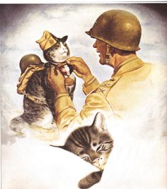 Chessie dreaming of Peake receiving a medal. ~ Chesapeake and Ohio Railroad Line calendar, December, 1945. Chessie's was a famous mascot for the line, starting as a kitten herself, then with two kittens of her own. She represented the Chesapeake and Ohio Railroad for 12 years.