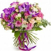 Buchet frezii, trandafiri si orhidee vanda Delphinium, Floral Wreath, Wreaths, Decor, Decoration, Delphiniums, Decorating, Deco, Bouquet
